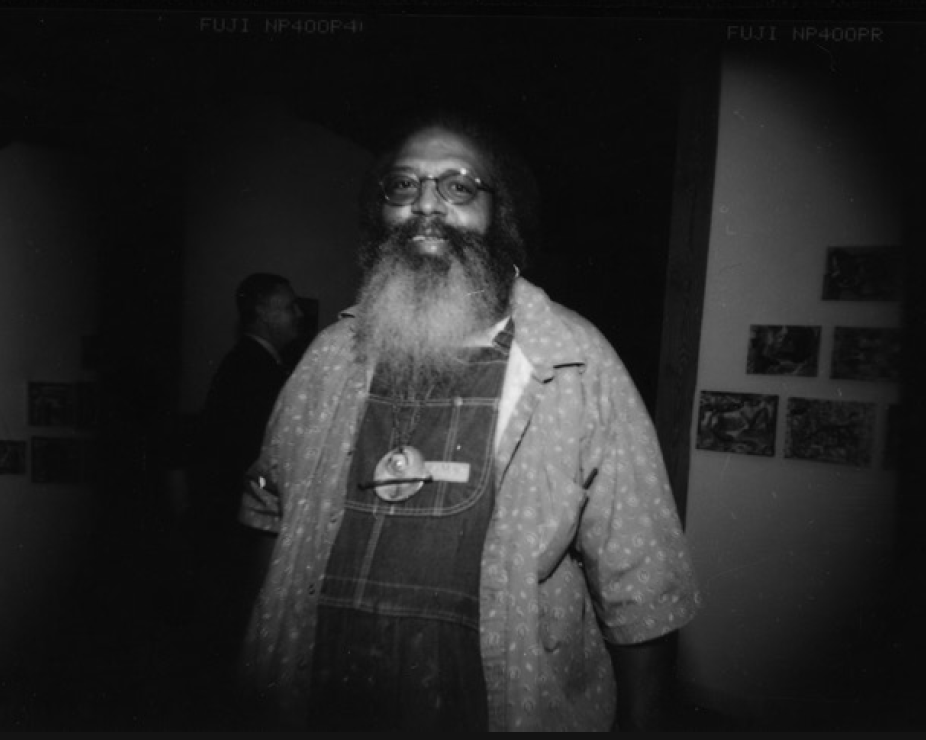 Suzanne Paul, Artist Bert L. Long, Jr., at the Dick Wray opening reception at ArtScan, 2001, Contact proof print