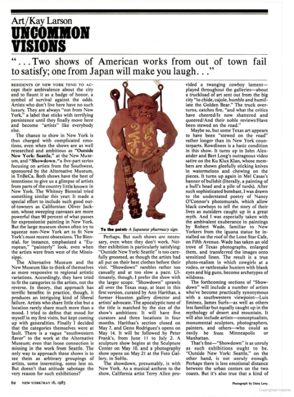 Art critic Kay Larson's review of Showdown at The Alternative Museum in New York Magazine, May 16, 1983