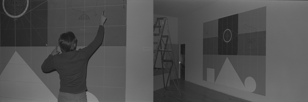 Artist Frank Fajardo during installation for Low Down Showdown, a group exhibition in Tribeca, New York City, 1983