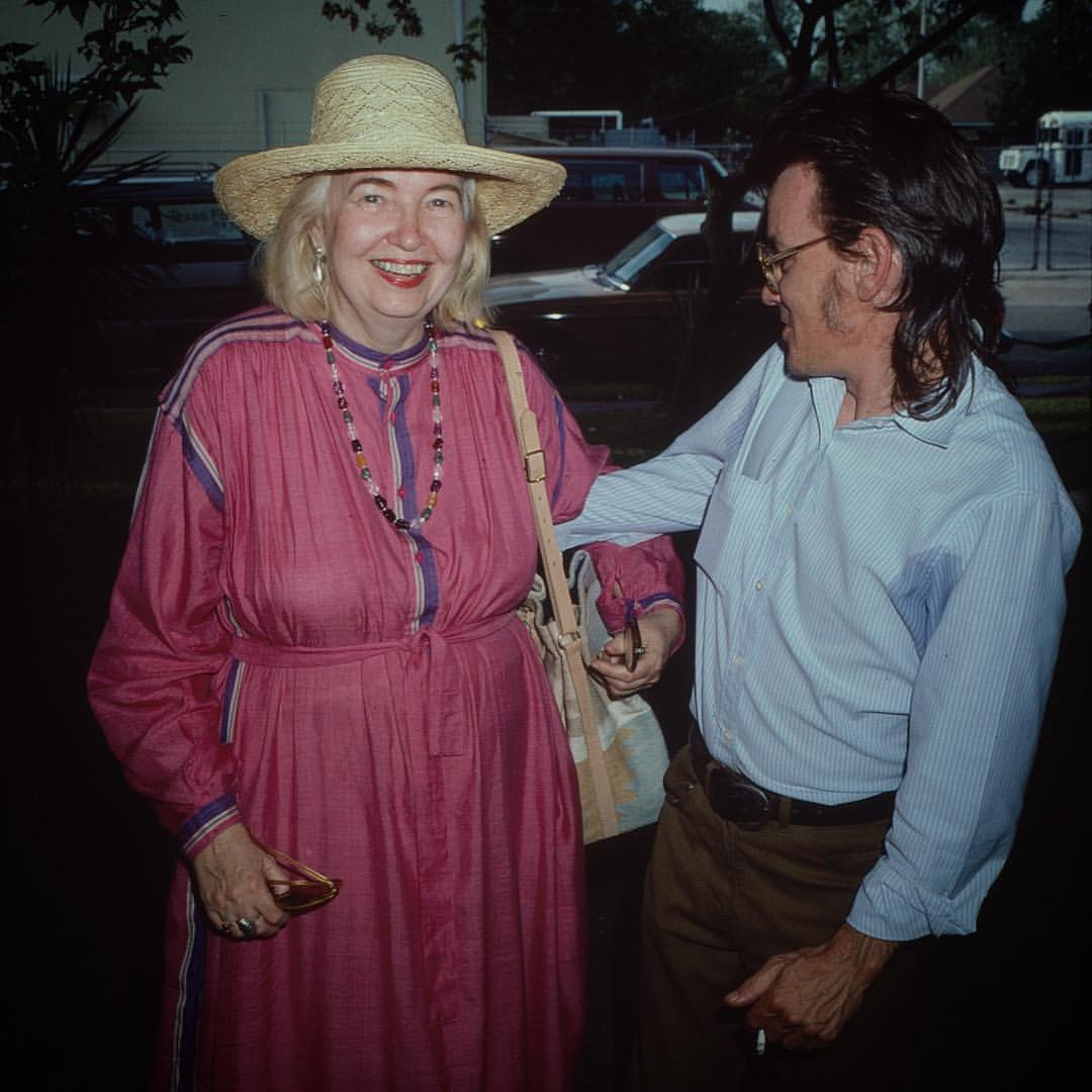 Suzanne Paul, Artists Dorothy Hood and Ron Hoover, April 1986, cropped from 35mm color slide film